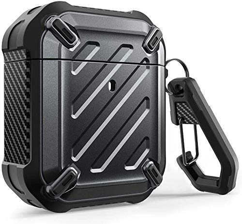 SUPCASE Unicorn Beetle Pro Series Case Designed for Airpods 1 & 2, Full-Body Rugged Protective Case with Carabiner for Apple Airpods 1st & 2nd (Black)