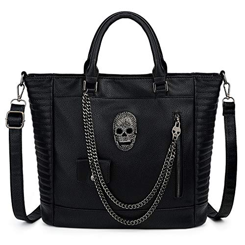 UTO Women Skull Tote Bag Large Rivet Studded Handbag PU Leather Purse Shopper Shoulder Bags