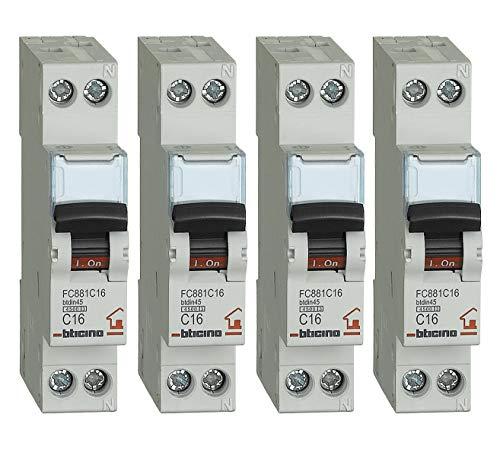 Bticino - Kit de 4 interruptores magnetotérmicos, 16 A