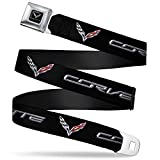 Buckle-Down Seatbelt Belt - CORVETTE/C7 Logo Black/Silver/Red - 1.5' Wide - 24-38 Inches in Length