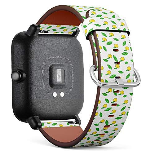 Compatibile con Huami Amazfit Bip - Cinturini di Ricambio con Chiusura a Sgancio Rapido con Perni (Apples Patttern Green Yellow)