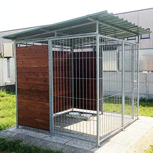 Box per Cani Coperto Retro & 1 Metro Laterale in Legno Zincatura a Caldo Dimensioni 200 x 200 x h 180 Cm