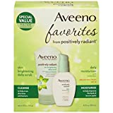Aveeno Positively Radiant Morning Radiance Skin Care Gift Set with Daily Face Scrub & Moisturizer with SPF 15 Sunscreen, Helps Brightens Skin & Evens Tone, Non-Comedogenic & Hypoallergenic, Set of 2