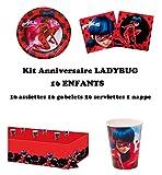 Uni que Miraculous Ladybug Party Deko Set für 16 Kinder ( 16 Teller, 16 Becher, 20 Servietten + 1...