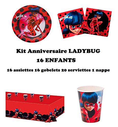 Set festa, party, compleanno Ladybug 16 bambini (16 piatti, 16 bicchieri, 20 tovaglioli, 1 tovaglia ) festa