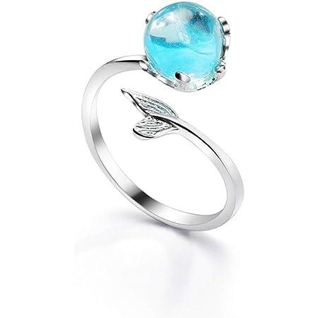 WRISTCHIE - Braccialetto, collana, anello e orecchini a perno in schiuma con coda di sirena e cristallo blu