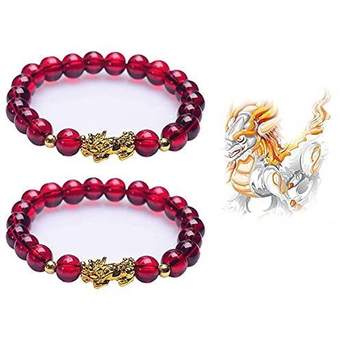 2 pulseras de granate, para aliviar el estrés, yoga, reiki, pulsera de prosperidad Feng Shui, pulsera de triple protección, pulsera de chakra Pi Xiu para mujeres y hombres