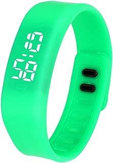 DamarkLED Sports Running Watch Date Rubber Bracelet Digital Wrist Watchch (Green)