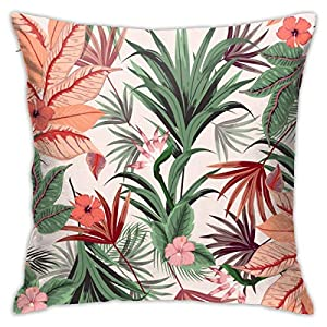 Osvbs Beautiful of Tropical Flowers, Jungle Leaves, Bird of Paradise Flower Pillowcase Silk Customized Double Sided 18 × 18 Inch for Sofa Bed (only Pillowcase, No Pillow)