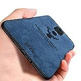 Yoota Cover Xiaomi Redmi Note 9, Stoffa Testa Cervo + Custodia Bordo Morbida TPU Paraurti Antiurto Anti-Scivolo Caso per Xiaomi Redmi Note 9 - Blu