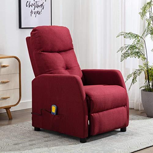 FAMIROSA Sillón reclinable de Masaje Tela Rojo tinto-9829