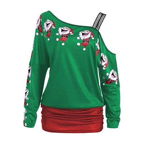 OverDose Damen Bluse Pullover Damen Weihnachten Weihnachtsmann Print Tops Langarm Aus Schulter Party Cosplay Elegante Lange Bluse Shirt Tops(Grün,EU-44/CN-XL)