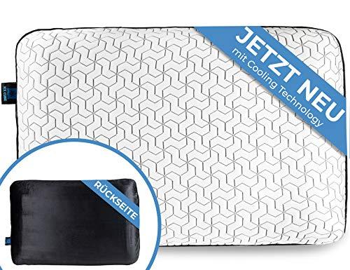 IceCube Orthopädisches Kissen | kühlende Wirkung gegen Nackenschmerzen und Verspannungen | Zweiter Bezug Gratis | Memory Foam Kopfkissen für einen erholsamen Schlaf | kühlt, unterstützt und entspannt