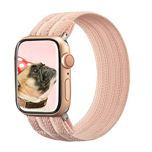 TOYOUTHS Elastic Band Compatible with Apple Watch Band Scrunchies Stretchy Solo Loop 42/44mm Leopard Pattern Soft Nylon Strap Women Replacement Wristband for iWatch Series SE/6/5/4/3/2/1