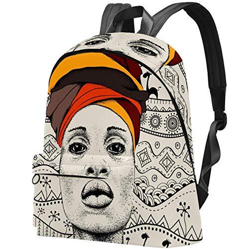 TIZORAX Mochila Casual Mujer Mujer Africana en Turbante Tribal Mochilas Escolares Grandes Mochila Mochila para Viajes Senderismo