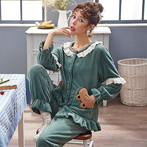 DUJUN Frauen Coral Velvet Pyjamas Herbst und Winter Modelle Verdickung sowie samt süße Prinzessin Wind Home Service Flanell warmen Anzug A17 M