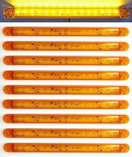 Lot de 10 longs feux de gabarit LED 12 V 24 V Orange/ambre pour camion, remorque, benne, caravane, camping-car, van, bus