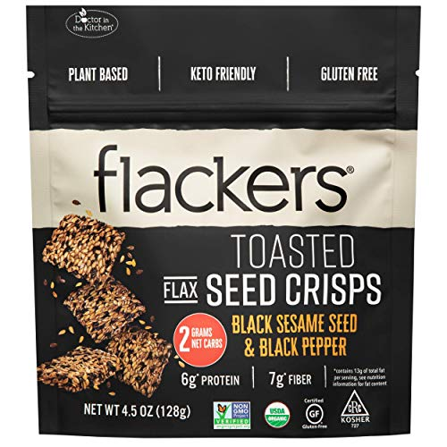 Toasted Flackers Seed Crisps Black Sesame Seed & Black Pepper