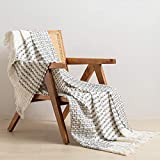 Embossed Jacquard Cotton Throw Blanket Cable Knit Woven with Tassels Soft Lightweight Cozy Blanket Scarf Shawl Farmhouse Decoration for All-Season (Grey)