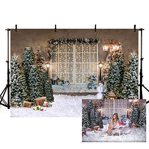 MEHOFOND 7x5ft Merry Christmas Photography Background Christmas Tree Lamp Window Snow Backdrops Winter Xmas Birthday Holiday Party Decoration Banner Kids Family Photo Portrait Props
