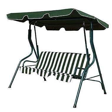 TANGKULA 3 Seater Canopy Swing Glider Hammock Garden Backyard Porch Cushioned Steel Frame Swing (Green)