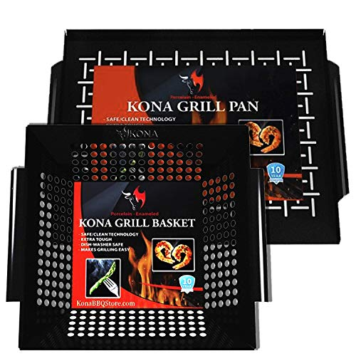 Kona Best Vegetable Basket and Tray Combo Bundle - Safe/Clean Enameled Grill Toppers