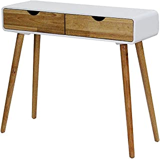Heather Ann Euro Collection Writing Desk Console Table, White