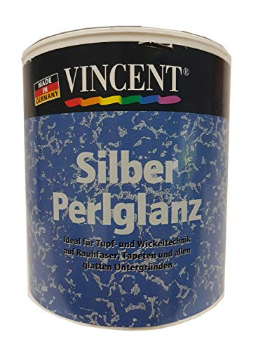 Vincent Perlglanz Lasur Farbpigmenten Innen 0,5 Liter Farbwahl, Farbe:Silber