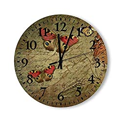 Tamengi Round Wood Wall Clock Home Decor,Insect Brown Butterfly Wing Pattern, Battery Operated, no Ticking Sound, for Home, The Kitchen, Living Room, Bedroom, Restaurant or Office