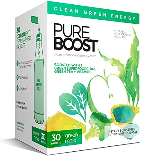 Pureboost Clean Energy Drink Mix with B12, 7 Organic Green Superfoods and Vitamins. Naturally flavored with Green Apple. No Sugar. No Sucralose. (30 Count, Green Mojo)