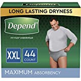 Depend FIT-FLEX Incontinence Underwear for Men, Maximum Absorbency, Disposable, XXL, Grey, 44 Count (2 Packs of 22) (Packaging May Vary)