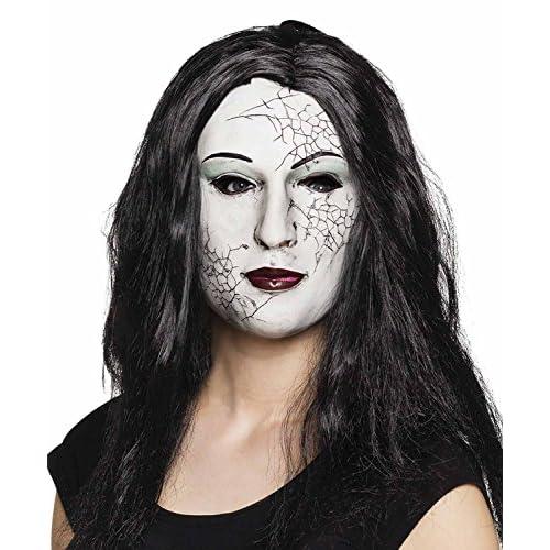 Maschera viso Ragazza di pietra in lattice con capelli