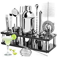 ratel cocktail shaker set, 18 pezzi set professionale per cocktail shakers bar per feste accessori essenziali per barman kit in con espositore in legno e libro per cocktai