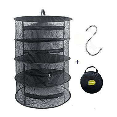 SUOMEI 4 Layer Mesh Hanging Herb Drying Rack Dry Net with Zippers,Gift to S Hang buckle and storage bag,Black (Black)