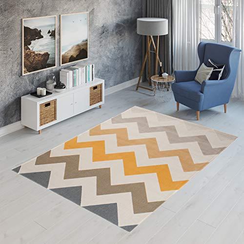 Tapiso Canvas Modern Teppich Kurzflor Designer Jugendteppich Pastell Creme Bunt mit Geometrisch Zick Zack Streifen Muster Perfekt für Jugendzimmer ÖKOTEX 120 x 170 cm