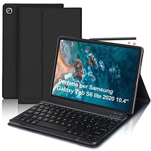 """SENGBIRCH Custodia con Tastiera Per Samsung Galaxy Tab S6 Lite 2020 10.4""""(SM-P610/P615), Tastiera Bluetooth Italiano con Custodia Leggero Cover Protettivo Smart con Auto Svegliati/Sonno, Nero"""