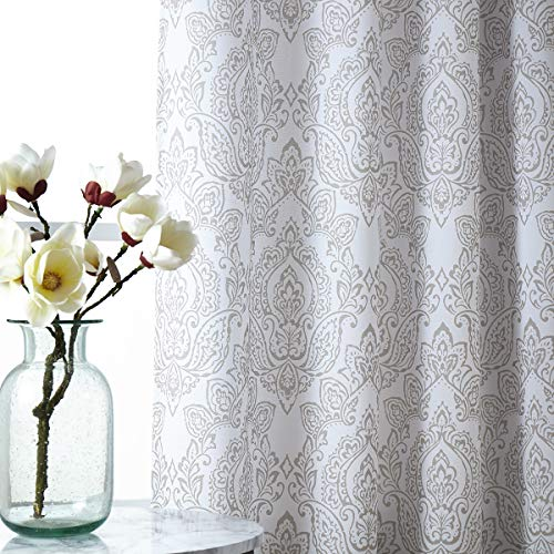 """Fmfunctex Damask Print Curtains 95"""" Long on Premium White Curtains for Living Room Classic Floral Bedroom Window Draperies 1 Pair Natural, Grommet Top"""