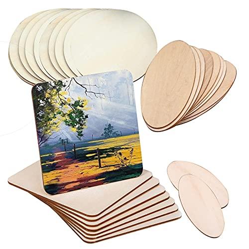 GZjiyu - 30 placas de madera contrachapada sin tratar, para manualidades de madera, pirograbado, pintura, modelo de manualidades (cuadrado + redondo + ovalado)