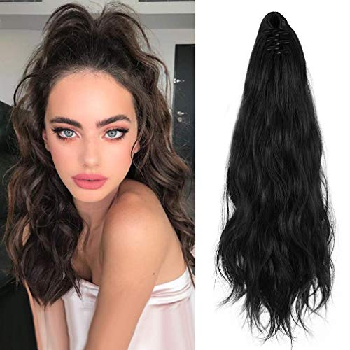 """SEIKEA Ponytail Extension Clip in Claw 24"""" Long Curly Wavy Jaw Pony Tails Clip on Hairpiece for Women Girls - Black"""