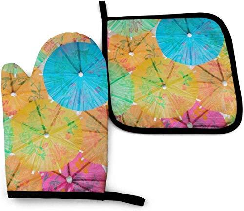 Coloridos mosaicos de fondo Juegos de manoplas para horno y porta ollas Juego de poliéster de cocina resistente al calor para cocinar,hornear,asar a la parrilla,sombrillas de papel de colores