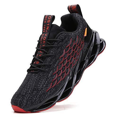 TSIODFO Herren-Sportschuhe, Laufschuhe, Laufschuhe, Jogging, Sneakers, Schwarz (A055 Schwarz Rot), 38.5 EU