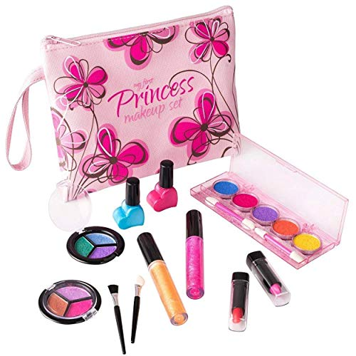 Playkidz- My First Princess Set Trucco Realistico (Lavabile) con Borsa cosmetica Floreale di Design, Colore Pink, PK3032