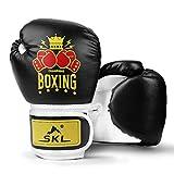 SKL Boxhandschuhe Kinder Boxing Gloves Kids Punchinghandschuhe aus PU Training Muay Thai für Sparring, Kickboxen, Kampfsport, Boxsack Punching, Fitness, Sandsack schwarz