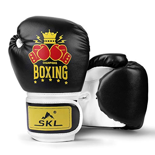 SKL Boxhandschuhe Kinder Boxing Gloves Kids Punchinghandschuhe aus PU Training Muay Thai für Sparring, Kickboxen, Kampfsport, Boxsack Punching, Fitness, Sandsack schwarz