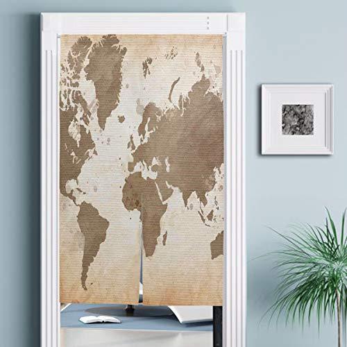 JISMUCI Cortinas,Ilustración del arreglo de Estilo Vintage de Tierra de continentes con Efecto Ombre,Decoración del hogar para Cocina,Sala de Estar