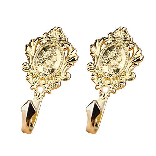 WINOMO Paar Garderoben Haken Vorhang Holdbacks Mehrzweckhaken Vintage (Gold)