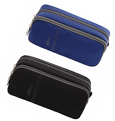 Pencil Case Large Pencil Pouch Pencil Bag with Double Compartments for Girls Boys Adults (2Pack Black+Navy)