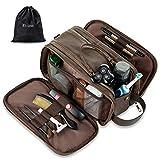 Elviros Toiletry Bag for Men, Large Travel Shaving Dopp Kit Water-resistant Bathroom Toiletries Organizer PU Leather Cosmetic Bags (Dark coffee)