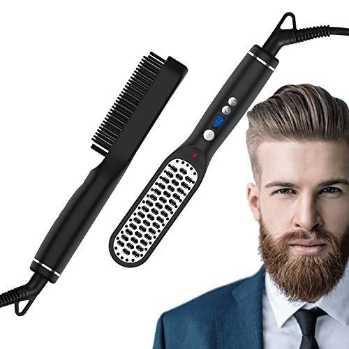 Beard Straightener Brush for Men, Sendowtek Ceramic & Ionic Hair Brush with Fast Heating and Anti-Scald, Heated Beard Comb 5-temp Adjustable with LCD Display 3 in 1 Hair straightening Brush