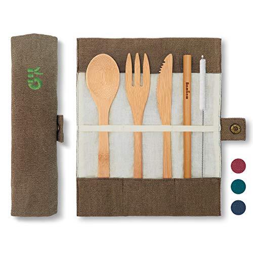 Eßbesteck aus Bambus | Reisebesteck | umweltfreundliches Besteckset | Messer, Gabel, Löffel und Strohhalm| Besteck Holz | Reisebesteck für unterwegs mit Reiseetui | 20 cm | Olive | Bambaw